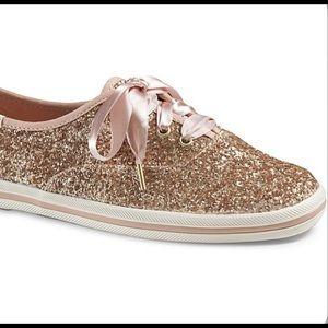 Keds x kate spade Glitter Rose Gold Sneaker - 8.5